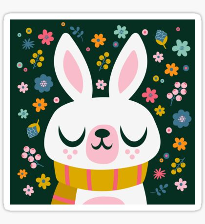 Bunny Wearing a Scarf and Flowers Sticker