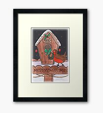 Robin Decorating for Christmas Framed Print