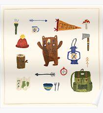 Camping Bear Poster