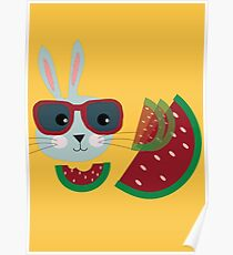 Hungriger Hipster Hase Poster
