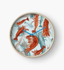 Shrimp - Orange and Turquoise Clock
