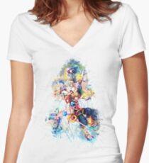Camiseta entallada de cuello en V Familia de los Corazones del Reino