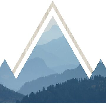 Geometric Mountains Wood by chasensmith