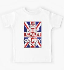 Keep Calm, & Carry On, Union Jack, Flag, Blighty, UK, GB, Be British! Kids Tee
