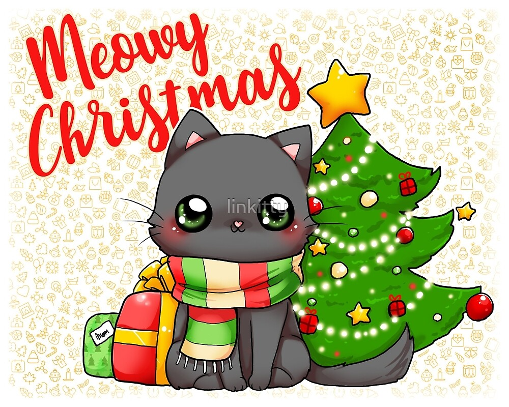 meowy christmas merry christmas cat by linkitty - Merry Christmas Cat