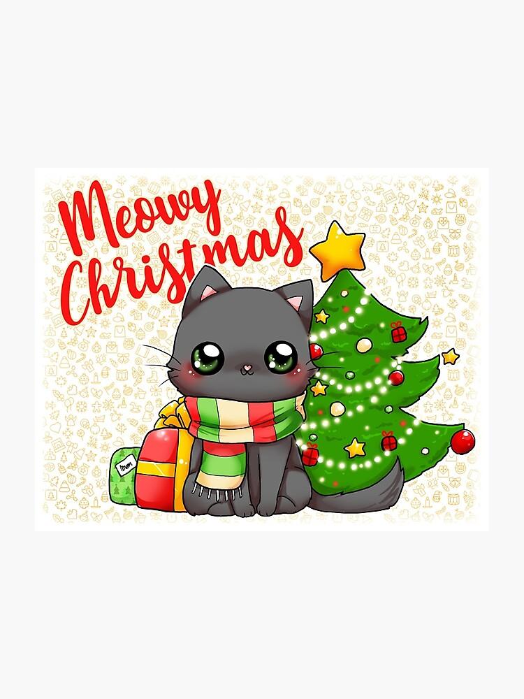 Meowy Christmas.Meowy Christmas Merry Christmas Cat Photographic Print