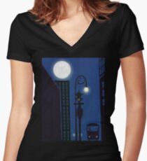 Last Stop On The Night Bus Women's Fitted V-Neck T-Shirt