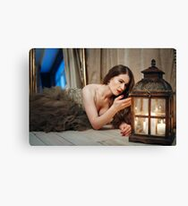 Woman in Elegant Dress Looking in Lantern Canvas Print