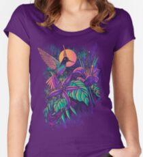 Lila Garten Tailliertes Rundhals-Shirt