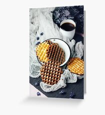 Waffles with Chocolate Icing with Coffee Greeting Card