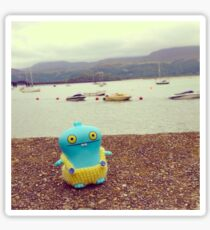 Babo uglydoll on holiday in Wales, UK. Sticker