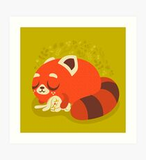 Sleeping Red Panda and Bunny Art Print
