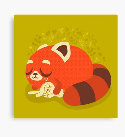 Sleeping Red Panda and Bunny Canvas Print