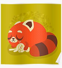 Sleeping Red Panda and Bunny Poster