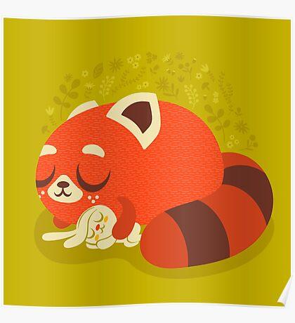 Sleeping Red Panda and Bunny Poster