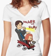 Mulder and Scully Women's Fitted V-Neck T-Shirt