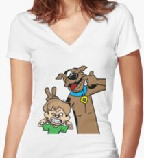 Scooby and Shaggy Women's Fitted V-Neck T-Shirt