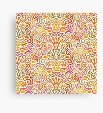 Funny Colorful Seamless Pattern with Abstract Flowers, Leaves, Hearts, Crowns, Eggs, Keys, Etc. on White Background Canvas Print