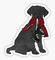 Preppy Black Lab Dog-Winter Ice Skates Sticker