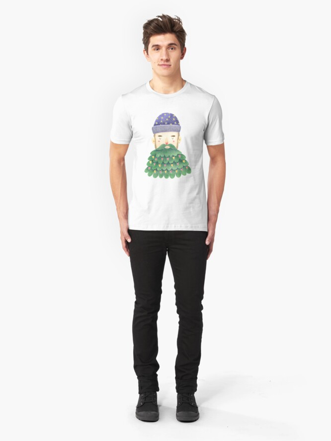 Alternate view of Hipster Christmas Slim Fit T-Shirt