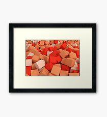 3d bulk of orange cubes Framed Print