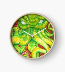 Cthulhu Painting on Wood Clock