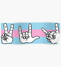 Peace Love Death Metal - Pink and Blue Poster