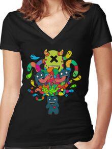 Monster Brains Women's Fitted V-Neck T-Shirt