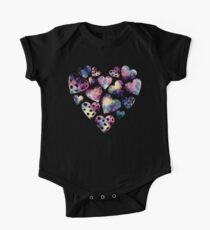 Watercolor Funny Heart  One Piece - Short Sleeve