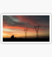 Electricity Pylons On Silhouette Landscape At Dusk Sticker