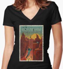 Valles Marineris Mars Poster Distressed Shirt mit V-Ausschnitt