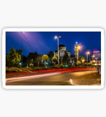 Light Trails Along Lit Street Lights Sticker