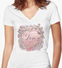 Painterly watercolour declaration of Love, flowers, nature Women's Fitted V-Neck T-Shirt