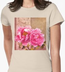 Sunlit magenta pink peony flowers, floral art Womens Fitted T-Shirt
