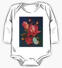 Vintage Roses, antique elements, butterfly floral art One Piece - Long Sleeve