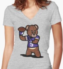 VICTRS - Teddy Football™ Women's Fitted V-Neck T-Shirt