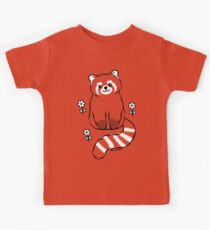 Red Panda with White Flowers Kids Tee