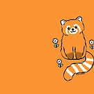 Red Panda with White Flowers by Zoe Lathey