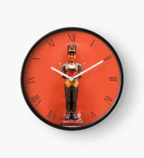 Carved drummer figurine decoration Clock