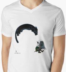 Drizzt und Guenhwyvar T-Shirt mit V-Ausschnitt für Männer