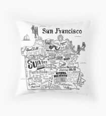 San Francisco Illustrated Map Throw Pillow