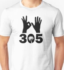 305 Area Code With Hand Signs and Palm Tree Unisex T-Shirt