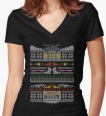 Back to the Future Christmas Women's Fitted V-Neck T-Shirt
