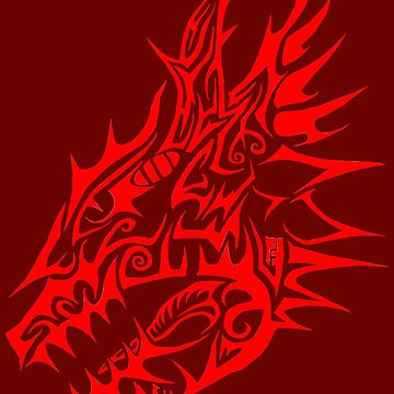 Red Dragon head tribal by Blooddust