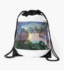 Summer cafe (With Energy and Auras) Drawstring Bag