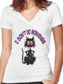 I Don't Do Mornings - Black Cat Tuff Kitty Women's Fitted V-Neck T-Shirt