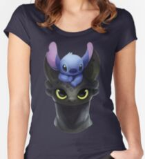 Stitch on Toothless Women's Fitted Scoop T-Shirt
