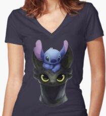 Stitch on Toothless Women's Fitted V-Neck T-Shirt
