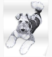 Foxy Fox Terrier ~ Black and white Poster