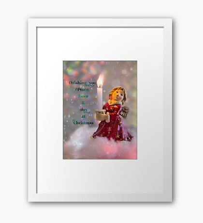 Angelic Christmas Greeting Framed Print